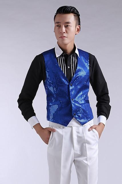 Mens Wedding Stage Show Gold Shiny Sequins Waistcoat Blue Black Silver Pinkmodkily-modkily