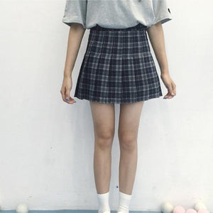 2017 New Spring high waist ball pleated Plaid a-line sailor skirts Harajukumodkily-modkily
