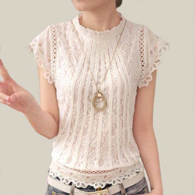 Blusas Femininas 2017 Summer Women Fashion Big Size Crochet Hollow out Lacemodkily-modkily