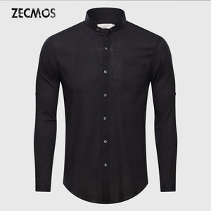 Ultrathin See Through Shirts Men Summer Solid Plain Mandarin Chinese Half Collarmodkily-modkily