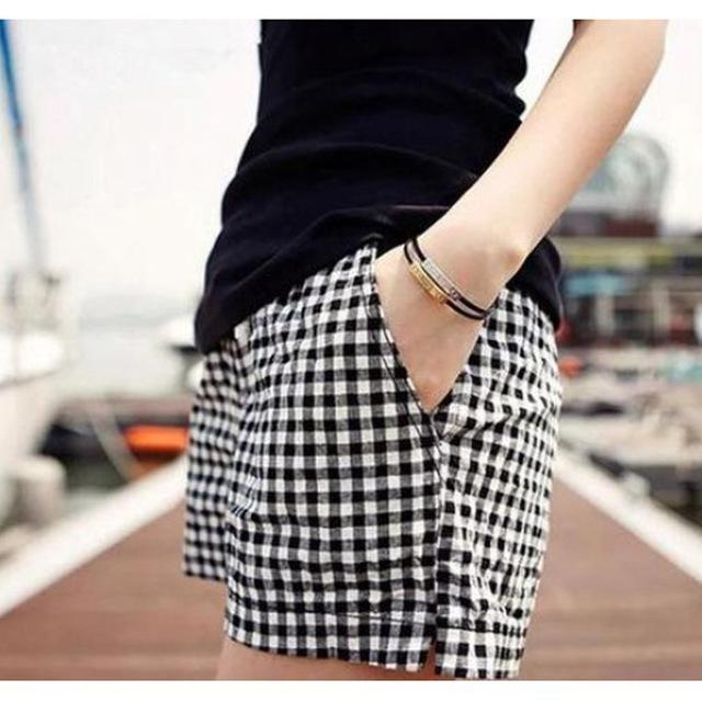 Pius Size M-4XL Black And White Plaid Shorts 2016 Summer Style Newmodkily-modkily