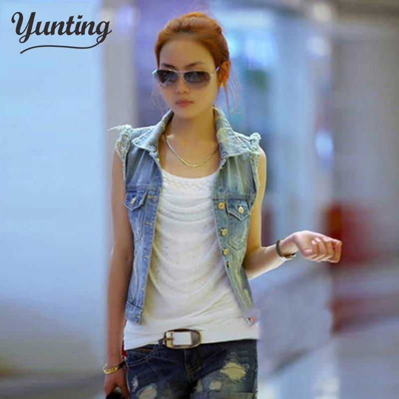 Denim Vest Women Casual Colete Coat Vintage Cardigan Jean Sleeveless Turn-down Collarmodkily-modkily