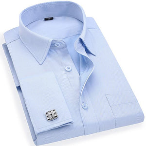 Men 's French Cufflinks Business Dress Shirts Long Sleeves White Blue Twillmodkily-modkily
