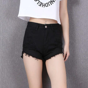 2017 summer new white Black hole loose denim shorts female simple burrsmodkily-modkily