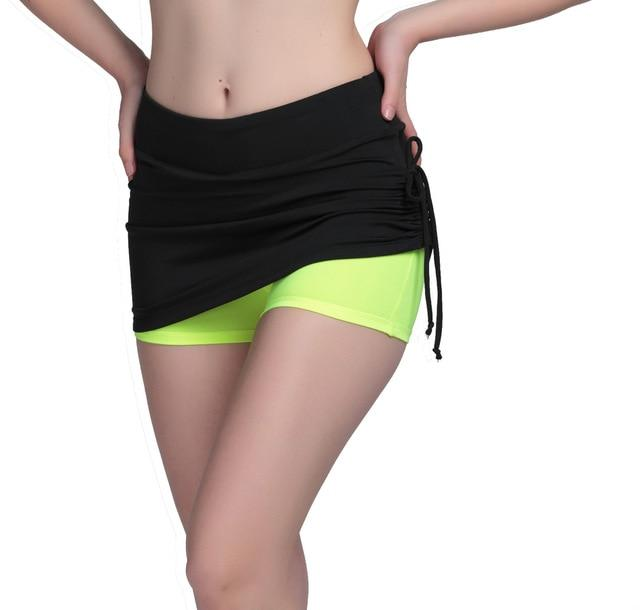 High Elastic Fitness Women Shorts Workout Trousers Fake Two Pieces Side Ropemodkily-modkily