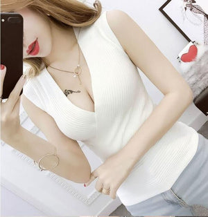 Summer Women Fashion Slim Deep V-neck Knitting Tank Tops Girls Knitted Camisolemodkily-modkily