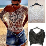 Sexy Women Vintage Casual Lace Sweet Hollow Out Crochet Knit Loose Blousemodkily-modkily