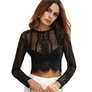 Lace See-through Crop Shirt Women Blouse Autumn Round Neck Long Sleevemodkily-modkily