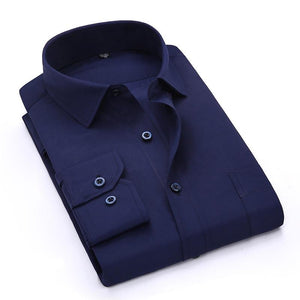 Men's Navy Blue Long Sleeve Work Office Shirt with Chest Pocket Broadcloth/twillmodkily-modkily