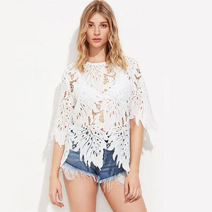 Hollow Out Leaf Lace Blouse White Sexy Tops 2017 Women Noveltymodkily-modkily