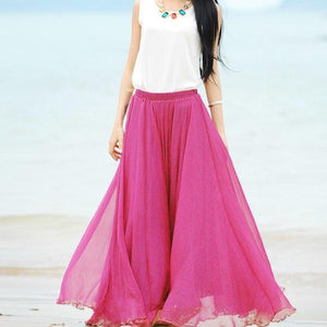 Long Maxi Skirts for Women Bohemian Solid Women Summer Skirt Pleatedmodkily-modkily
