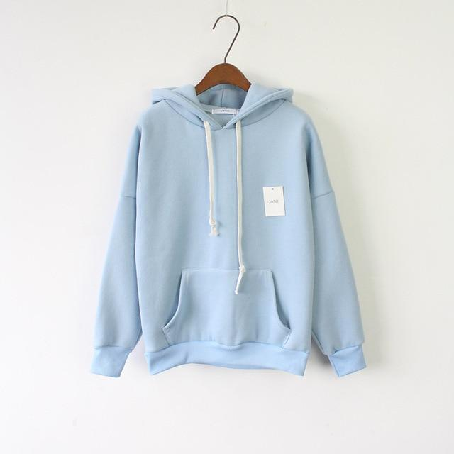 Solid Hooded Hoodies for Women 2017 Hot Sale Korean Pocket Casual Fitnessmodkily-modkily
