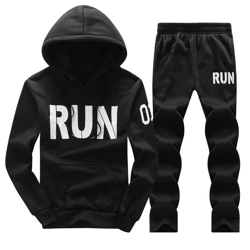 Tracksuit Men Hoodies Men Winter Fleece Tracksuits Print Sportswear 2PC Jackets +modkily-modkily