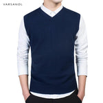 Varsanol Brand Clothing Pullover Sweater Men Autumn V Neck Slim Vest Sweatersmodkily-modkily