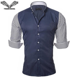 European Size Men's Shirt Fashion Men's Shirts Casual Slim Fit Stripedmodkily-modkily