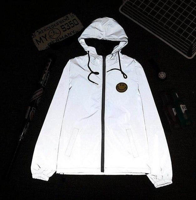 Sponge mice thin windbreaker 3m reflective jacket men casual hip hop modkily-modkily