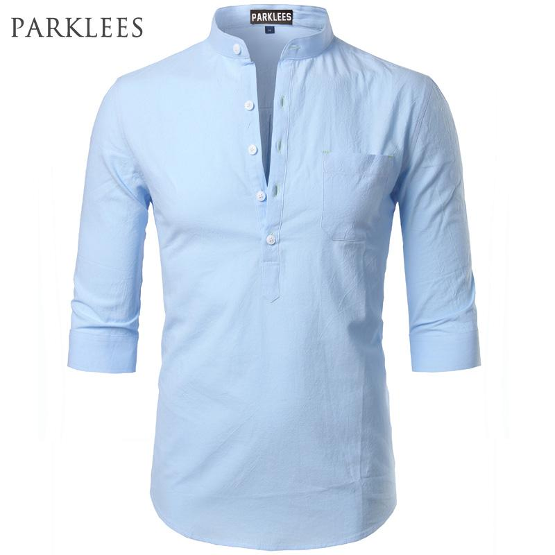 Fashion Cotton Linen Shirt Men Clothes Casual Slim Fit Mens Shirts Standmodkily-modkily