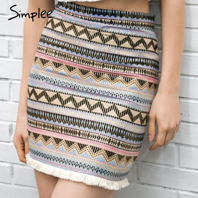 Simplee Vintage pencil skirt women bottom Boho chic tassels ethnic mini skirtmodkily-modkily