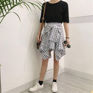 Cotton Fake Two Pieces-shirts Plaid Skirts Women Casual Stretch Waist Summermodkily-modkily