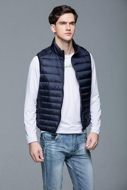 New Men's Warm Ultralight Down Jackets Vests Men Solid Thin Wintermodkily-modkily