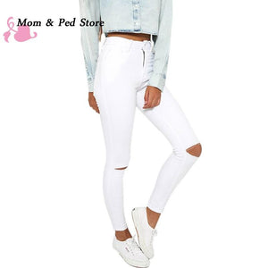 Summer style white hole ripped jeans Women jeggings cool denim high waistmodkily-modkily