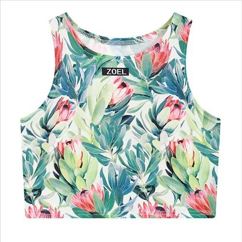 Kawaii Floral 3D Print Crop Top Bustier Tanks Fitness Cropped Top Vestmodkily-modkily