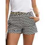 SHEIN Woman Shorts Summer New Arrival Black and White Mid Waist Buttonmodkily-modkily