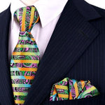 Free Shipping Stripes Paisley Multicolor Green Yellow Red Pink Black Mens Tiesmodkily-modkily