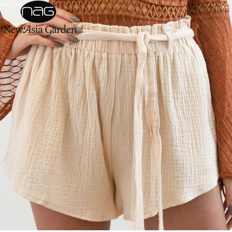 High Waist Casual Shorts Elastic With Bow Tie Sashes Women Widemodkily-modkily