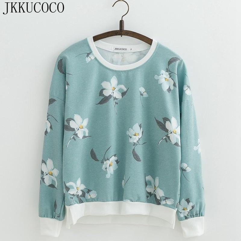 Hot sell Orchid Flowers Print Sweatshirts for Women sweatshirt Loose Cottonmodkily-modkily