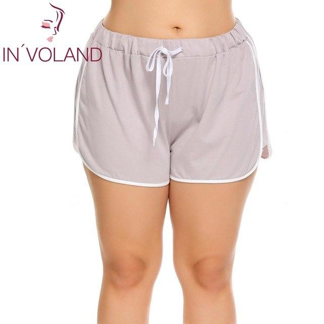 IN'VOLAND Women Shorts Plus Size Lace-up Elastic Waist Patchwork Loose Above Kneemodkily-modkily