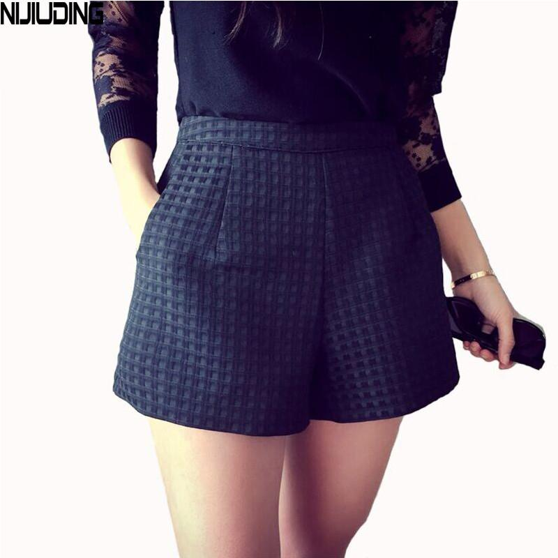 2017 Dropshipping Fashion Plaid shorts high-waisted shorts Korean Casual women Jeansmodkily-modkily