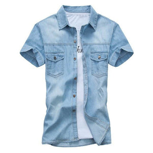 BOLUBAO New Men Denim Shirt Fashion Summer Style Short Sleeve Casual Shirtmodkily-modkily
