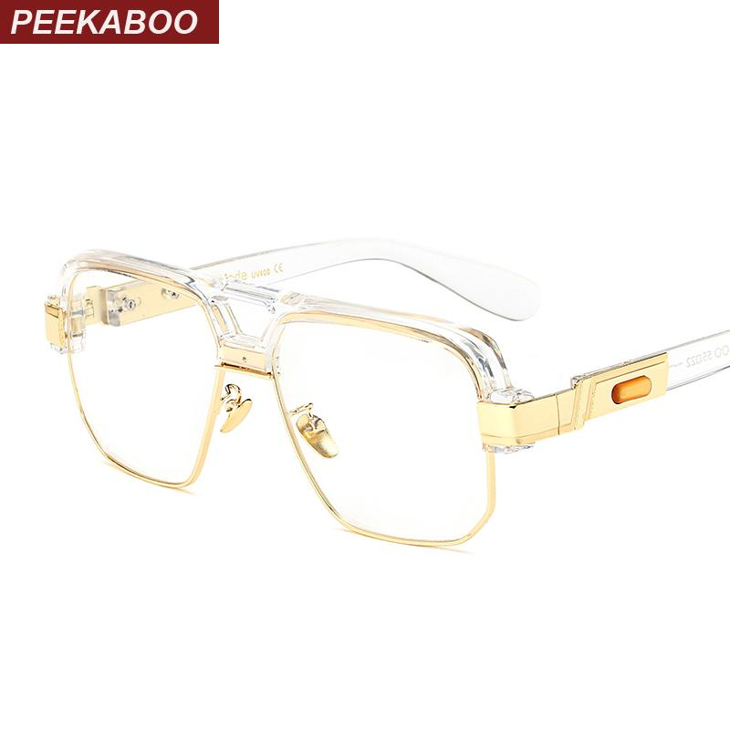Peekaboo matte black square big frame clear glasses semi rimless women menmodkily-modkily