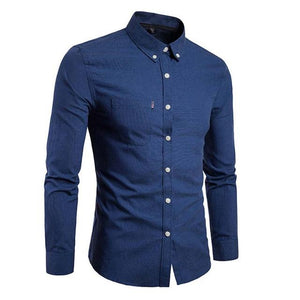 Fashion Men Long Sleeve Shirt Solid Business Casual Slim Fit Turn Downmodkily-modkily