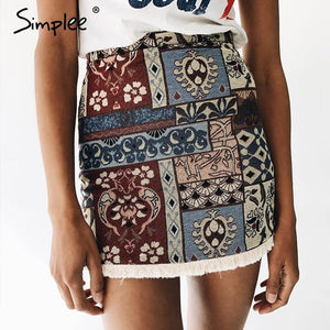 Simplee High waist skirts womens bottom Short boho style chic pencil skirtmodkily-modkily