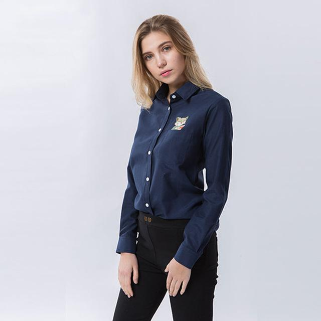 Women White Office formal Blouse Femme Blusas Ladies Long Sleeve Top Casualmodkily-modkily