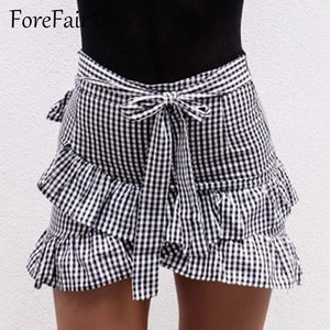 Forefair Fashion Ruffle Plaid Skirt 2017 Summer Women Classic Vintage Lace-Up Crissmodkily-modkily