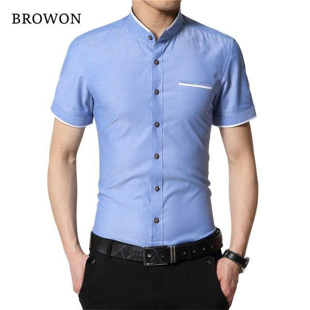 Brand New Fashion Summer White Shirt Men Short Sleeve Shirt Slimmodkily-modkily