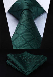 "TC442G8S Green Plaids Checks 3.4"" Silk Woven Men Tie Necktie Handkerchiefmodkily-modkily"
