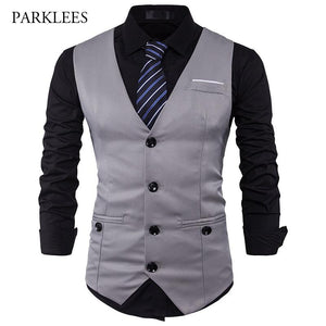 Men Suit Vest Classic V Collar Dress Slim Fit Wedding Waistcoat Mensmodkily-modkily