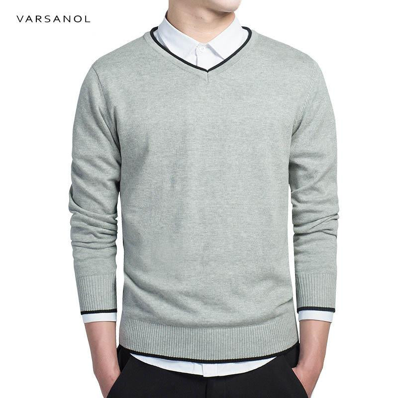 Varsanol Brand Cotton Sweater Pullover Men V-neck Casual Long Sleeve Sweaters Fitmodkily-modkily