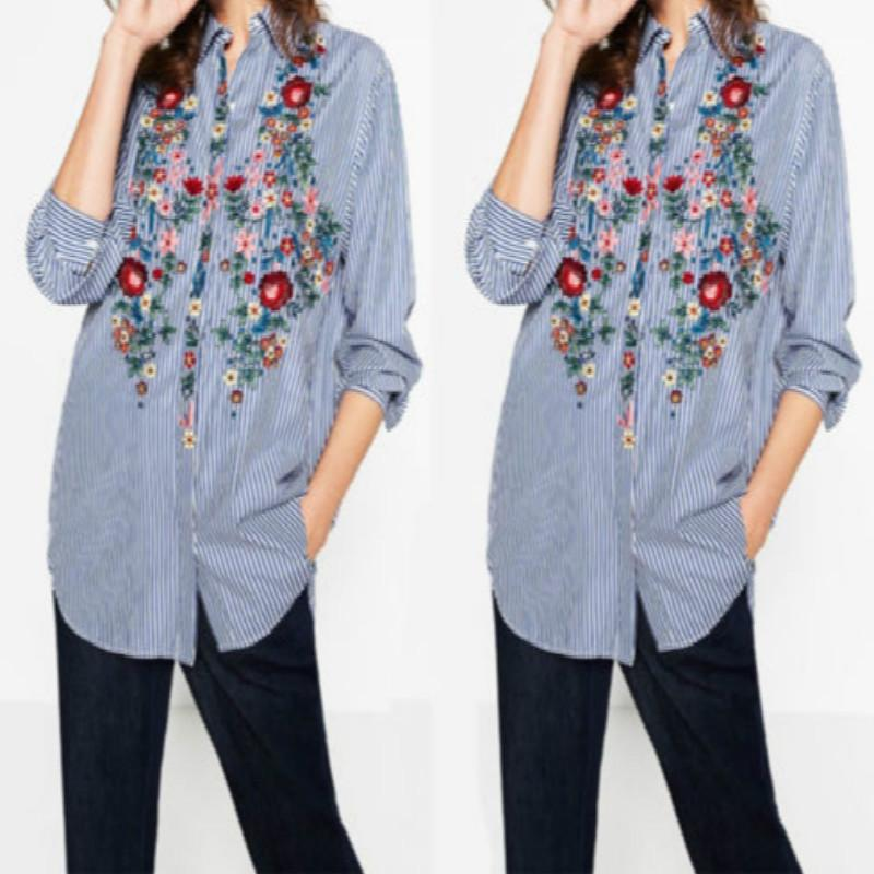 2017 New Casual Cotton Women's Floral Embroidered Blouse Autumn Casual Long Sleevemodkily-modkily