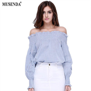 Women Girls Fashion Cotton Blue White Striped Tops Off the Shouldermodkily-modkily