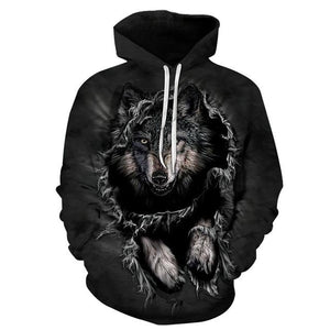 Mountain Wolf Hoodies 3D Men Hoodie Brand Sweatshirt Hooded Pullover Cool Animalmodkily-modkily