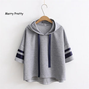 MERRY PRETTY Casual Women Hooded Sweatershirts Striped Sleeve Fashion Tops Solid Shortmodkily-modkily