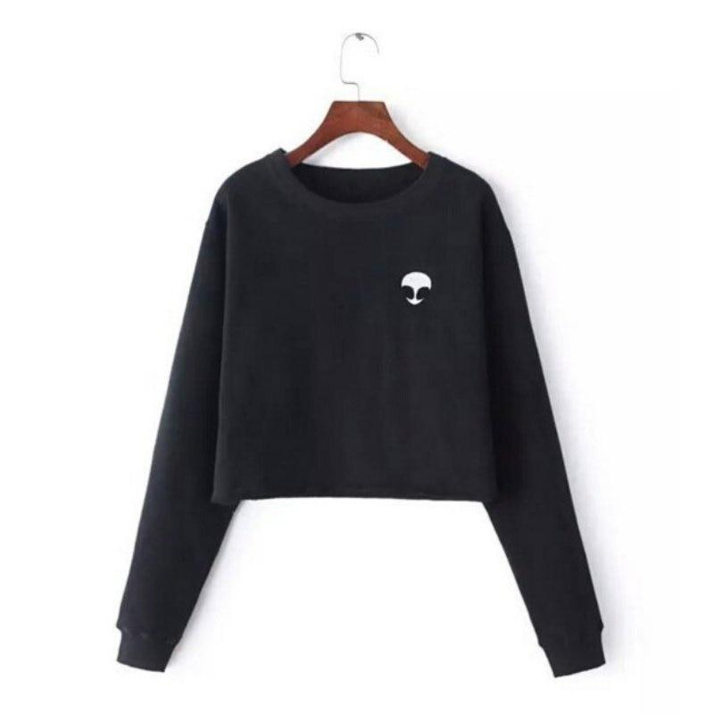 Women's Casual Pullover Long Sleeve Tops Alien Sweatshirt Coat Funny Printing Cropmodkily-modkily