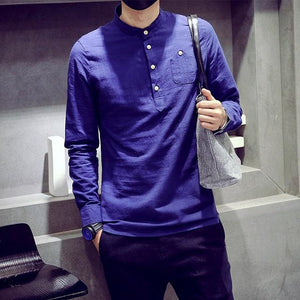 Autumn 2016 New Men's Solid Linen Shirts Flax Long Sleeve Cotton Shirtmodkily-modkily