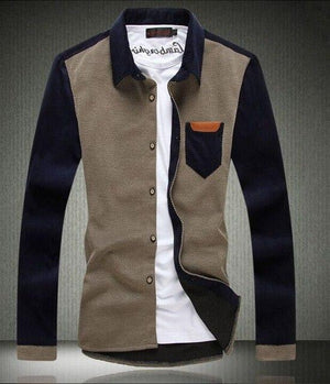 men's fashion casual long-sleeved shirt corduroy stitching 2017 autumn and wintermodkily-modkily