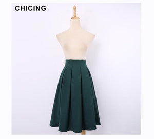 High Street Women Pleated Skirts 2017 Summer Vintage High Waist Kneemodkily-modkily